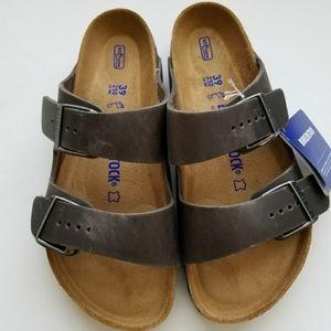 Birkenstock Arizona Iron Gray Leather Sandals
